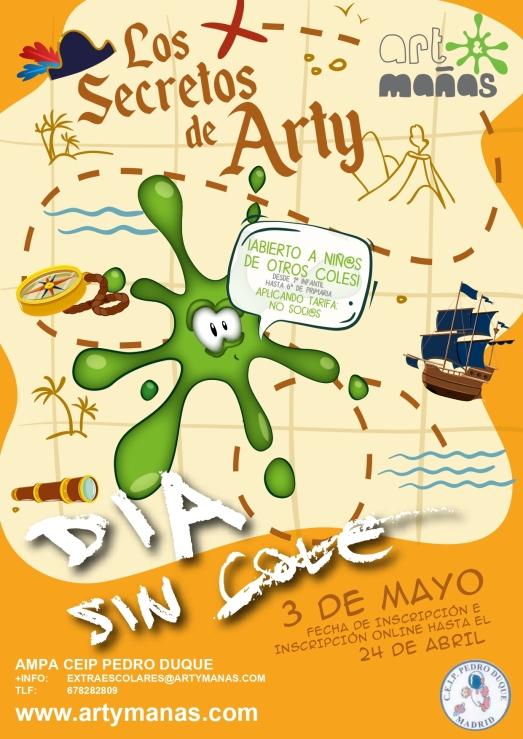 Cartel Día sin cole 3 de Mayo AMPA CEIP Pedro Duque Art&Mañas